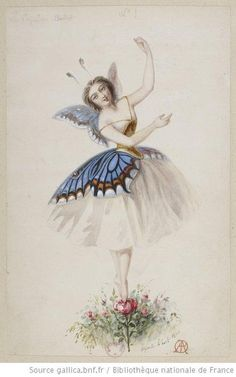 Costumes sketch for the ballet Le papillon by Alfred Albert. 1860.    source: gallica.bnf.fr