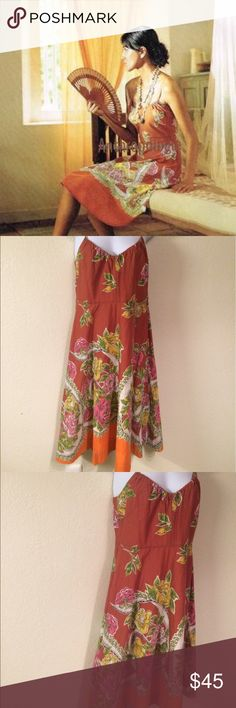 """Anthropologie Odille Floral Print Dress, 4 reat condition- no issues. DETAILS A water color wash of yellow and pink roses imprinted soft voile. Simple tangerine straps and a softly ruched v-neckline complete the a-line silhouette. By Odille Hidden side zip Fully lined Cotton Machine wash Length: 41"""" Anthropologie Dresses"""