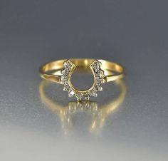 Vintage 14K Gold Lucky Diamond Horseshoe Ring  #Ring #14K #intage #Yellow #Diamond #Vintage #Gold #Antique #Token #boylerpf