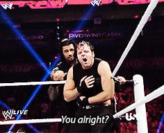 The Shield: Roman Reigns (L) and Dean Ambrose (R)... (i just love this gif)