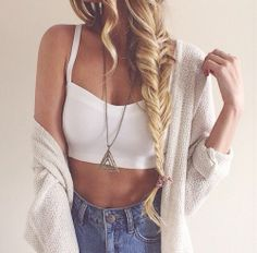 Summer outfit. White crop top, loose cardigan, jean shorts, fishtail.