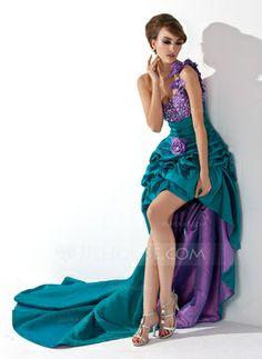 A-Line/Princess One-Shoulder Asymmetrical Taffeta Prom Dress With Ruffle Beading Flower(s) (018021088)