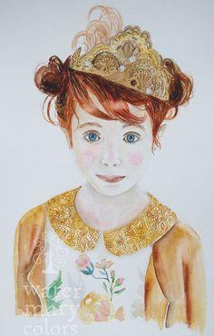 """La Princesa Pelirroja"" Acuarela sobre papel, a la venta, más info: http://marijoepintora.blogspot.com.es/"