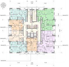 Жилой комплекс «Достояние». Корпус на ул. Ярцевской, вл. 31. План 2 этажа. Проект, 2016 © Архитектурная мастерская «ГРАН»