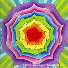 Lotus spiral mandala, by chaoticat  #doodle #pattern