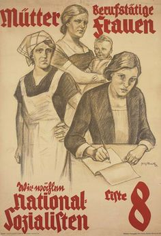 Nazi influences on fashion: these styles seemed like modest peasants which were promoted through Nazi approved artwork like this one. Ideal women were portrayed as athletic and buxom suited to working the land and having children. This encouraged women to embrace their cultural history.