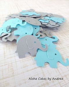 Elephant Confetti, Elephant Baby Shower Decorations, Tiny Gray and Aqua Elephant Punch Out, Table Decor, Party Decorations, Teal, Set of 100 on Etsy, $4.50
