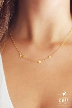 To the moon and back. Dainty moon and star necklace by Amanda Deer Jewelry.: