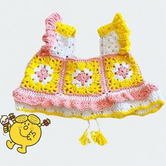 Little Sunshine cropped girls crochet top. Wool Wool and The Gang, pattern available soon Crochet Top, Crochet Hats, Wednesday Morning, Stylists, Wool, My Favorite Things, Knitting, Unique, Knits