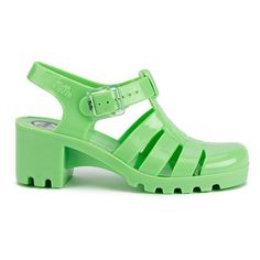 JuJu Women's Babe Jelly Sandals - Apple ($14) ❤ liked on Polyvore featuring shoes, sandals, footwear, green, mid heel shoes, green flat shoes, mid heel sandals, green shoes and jelly shoes