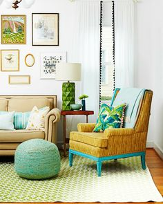 Fancy up curtains or pillows by adding pom-poms along the edge. Update an old chair by painting the frame a cheery shade — it's a great way to use up leftover wall paint.