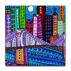 CITY ART GIFT Tile Coaster Brooklyn Bridge by HeatherGallerArt, $11.00