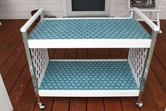 Blue and White Refinished Drink Cart