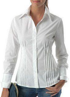Traslados, transformaciones en las pinzas de costura. Hijab Styles, Blouse Styles, Cute Blouses, Shirt Blouses, Blouse Dress, White Shirts, Womens Fashion For Work, Refashion, White Tops
