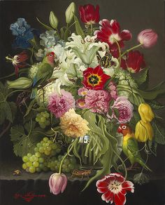 Flowers with Love Birds. Beautifully painted in the style of the Dutch masters.