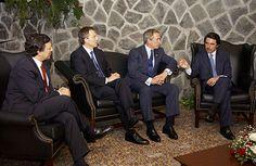 Durão Barroso, Tony Blair, George W. Bush y José María Aznar en la Cumbre de las Azores.