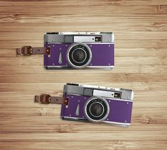 Personlized Luggage Tag Set - Retro Purple Camera Custom Luggage Tags. Great gift for your upcoming honeymoon.