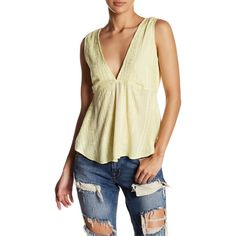 Free People V-Neck Back Tie Tank ($35) ❤ liked on Polyvore featuring tops, yellow, yellow tank, open back tank, v neck tank, deep v neck tank and sleeveless tops
