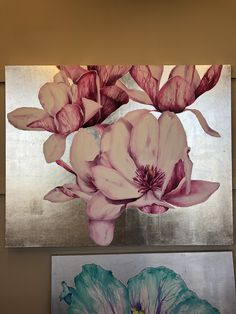 Acrylic painting with silver leaf Silver Leaf Painting, Japanese Magnolia, Painted Leaves, Acrylic Paintings, Gold Leaf, My Arts, Ideas, Thoughts