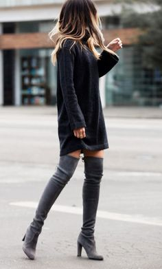 GET THE LOOK - Black, turtleneck sweater dress with over-the-knee boots outfit - street style night out fashion