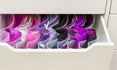 Boobie Trap for bra storage, supposedly only goes to size D though Clothes Drawer Organization, Wardrobe Organisation, Home Organization, Organizing, Lingerie Storage, Bra Storage, Girly Things, Girly Stuff, Girl Cave