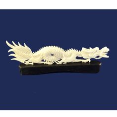 Chinese Dragon Figurine Statue Bovine Bone Asian Art