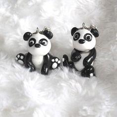 Boucles d'oreille petit panda en fimo et perle