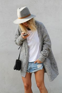 grey hat, grey cardigan, denim shorts