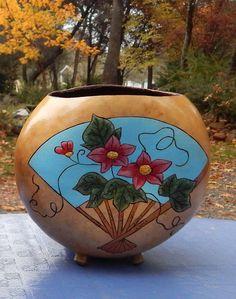 Fan Gourd  flowers and fan wood burned and by BeautifulGourdArt