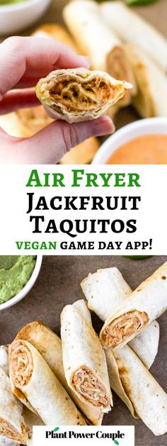 These crispy air fryer vegan taquitos are made with a meaty, flavorful jackfruit and refried beans filling with a quick dairy free queso sauce. This tasty vegetarian appetizer recipe is fun to make and is always a huge hit! Serve them with your favorite dips for a game day plant-based platter or for a cozy date night in. Or serve them with some rice and beans for a complete family dinner. #jackfruit #vegantaquitos #veganappetizer #airfryer #vegansnackideas Vegetarian Appetizers, Appetizer Recipes, Yummy Recipes, Vegetarian Recipes, Dinner Recipes, Yummy Food, Dairy Free Queso, Bloating After Eating, Vegan Dating
