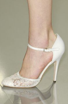 White lace front ankle-strap shoes by Elie Saab, Spring-Summer Couture 2013.