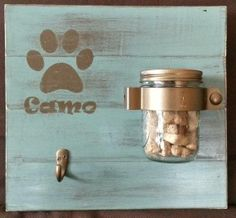 SOOO CUTE!! Dog Leash Holder and Treat Sign Personalized by KelloggKeepsakes, $30.00