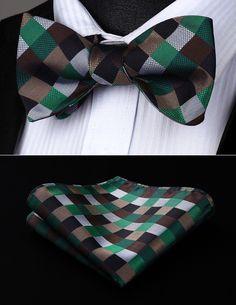 Party  Pocket Square Classic Wedding  BC709ZS Brown Green Black Check Bowtie Men Silk Self Bow Tie handkerchief set #Affiliate