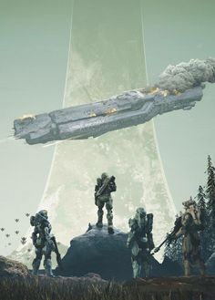 """"""" i-am-not-leaving-you-here: """" """"Halo infinite cover art anybody? """" Thats insane. Halo Game, Halo 3, Halo Reach, Halo Ships, Odst Halo, Halo Spartan, Halo Armor, Halo Collection, Spaceship Concept"""