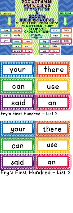 This product includes 200 bright and colorful word wall word cards from Fry's First and Second Hundred Word Lists! 2 Different font styles to choose from!!