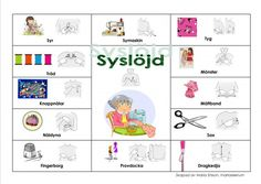 Pratkarta-Syslöjd Learn Swedish, Swedish Language, Textiles, Sign Language, Teaching Resources, Education, Learning, Inspiration, School