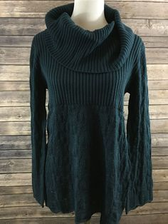 Style & Co. Women's Teal Cowl Neck Open Knit Long Sleeve Sweater Size Large…