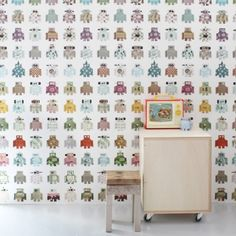Robot Wallpaper made from old prints and vintage finds, melded together in the best possible way.