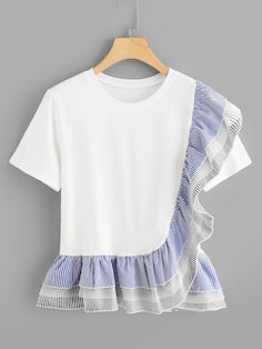 Cute Striped and Colorblock Regular Fit Round Neck Short Sleeve Pullovers White Regular Length Tiered Striped Ruffle Trim Pep Hem Tee Ruffle Fabric, Ruffle Trim, Ruffles, Fashion News, Fashion Outfits, Womens Fashion, Fashion Fashion, Vintage Fashion, Latest T Shirt