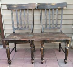 patio bench made from chairs - ha! I was just about to toss my old chairs out when I found this post. Bam.