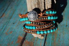 Leather Wrap Bracelet, Turquoise Gemstone, 5X Layered Wrap