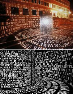 Sculptor Jim Sanborn, who created the famously untracked 'Kryptos' cipher that stands in front of the CIA headquarters in Langley, Virginia, installed another sculpture at the University of Houston. Called 'A,A', the metal sculpture is printed with snippets of poems, novels and prose from languages around the world. The sculpture is lit from the inside at night to cast the messages onto nearby surfaces.