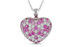 3 5/8 CARAT PINK AND WHITE SAPPHIRE STERLING SILVER HEART PENDANT W/CHAIN