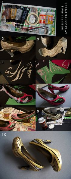 For anyone interested, here is a step by step tutorial on one way to alter existing shoes for cosplay. I use the shoes for my Hyrule Warriors Cia cosplay as the example, but this method could...