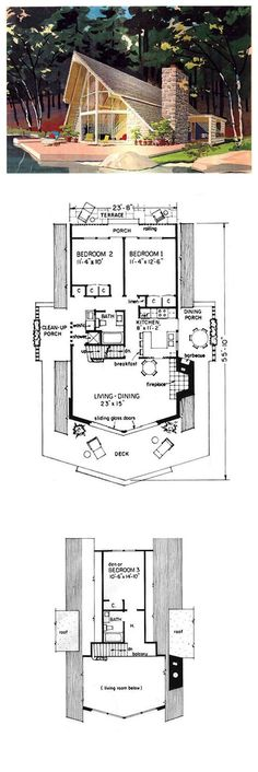 A-Frame Style COOL House Plan ID: chp-5581 | Total Living Area:1274 sq. ft, 3 bedrooms & 2 bathrooms. #houseplan #contemporary