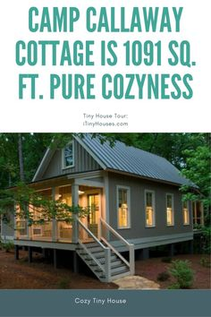 Camp Callaway Cottage is 1091 Sq. Pure Cozyness {Tiny House Tour 15 Photos+Video} - Are looking for a piece of paradise with a smaller footprint? Two Bedroom Tiny House, Small Cottage House Plans, Small Cottage Homes, Cabin House Plans, Beach House Plans, Small Cottages, Cottage Plan, Tiny House Plans, Mountain House Decor