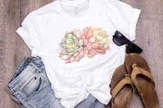Watercolor Echeveria Shirt Exotic Succulent Gift Rare Succulents Rare Succulent Gifts Pink Succulent Plants Gardening Gift by 25VintagePlace
