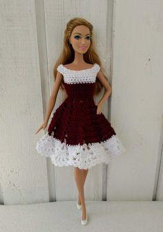 Crochet Patterns Dress Barbie clothes Barbie Crochet Dress for Barbie Doll Crochet Bodycon Dresses, Crochet Doll Dress, Black Crochet Dress, Crochet Barbie Clothes, Doll Clothes Barbie, Crochet Doll Pattern, Barbie Doll, Crochet Skirts, Dress Clothes
