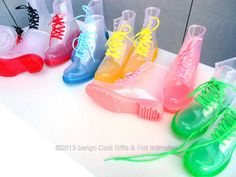 Clear Rain Boots Color Soles Lace Up Ankle Waterproof Transparent Jelly Shoes