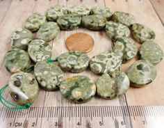 Rhyolite Flat Oval Twist Beads 20x16mm Earthy by StoneWingSupplies